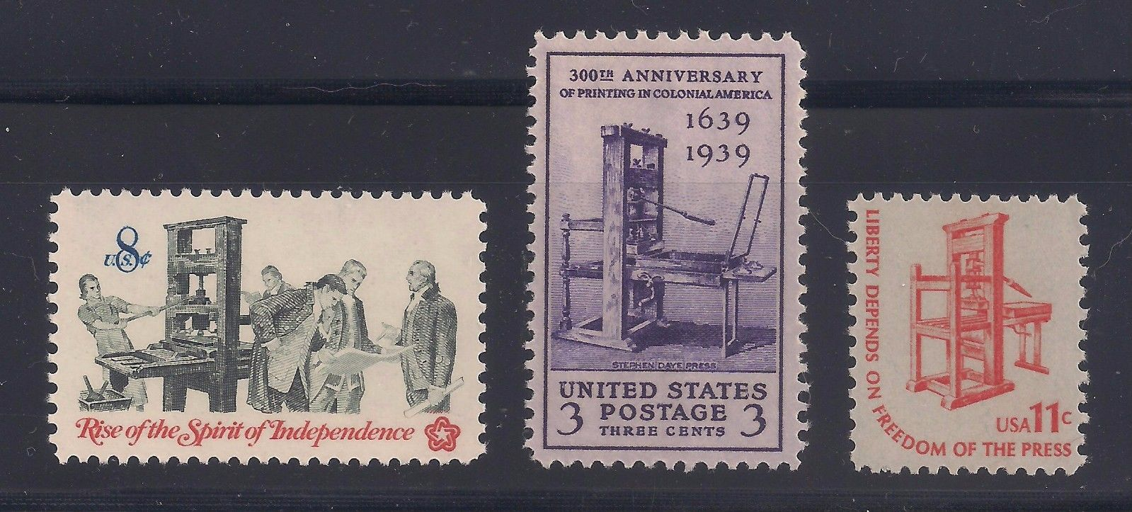 Postage Stamps showing Stephen Daye Press