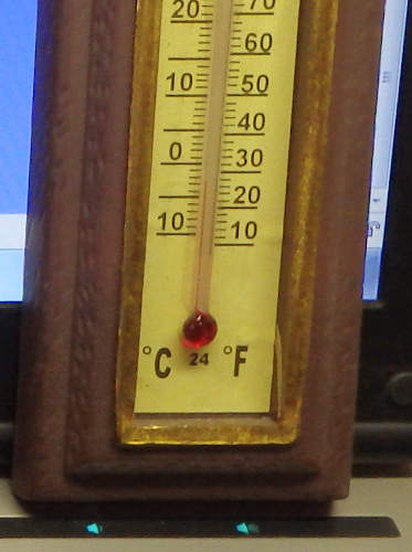 27 degrees  at my desk
