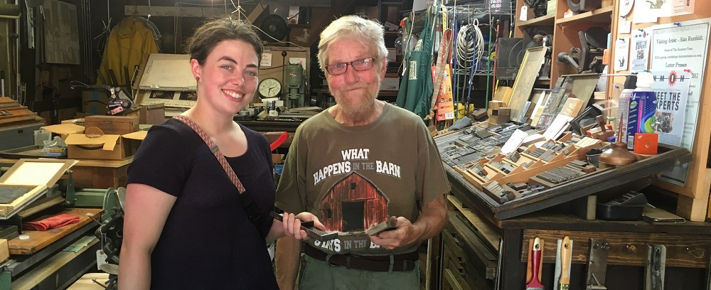 Lilly Jensen, Letterpress Printer with some old man...