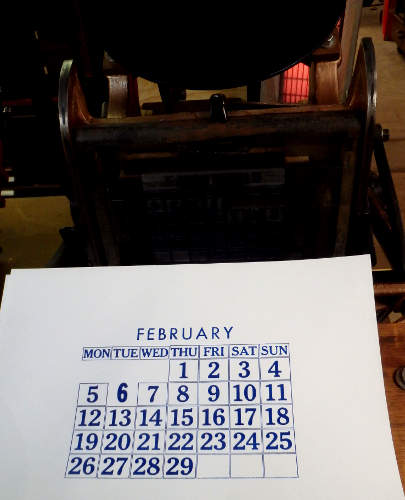 Calendar Page printed on Pilot Press