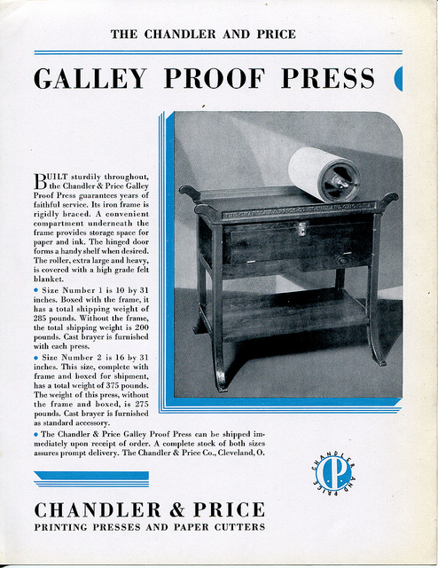 Chandler & Price Galley Proof Press