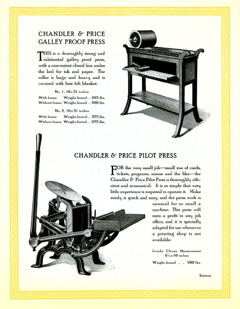 Chandler & Price Galley Proof Press 1914 Catalog